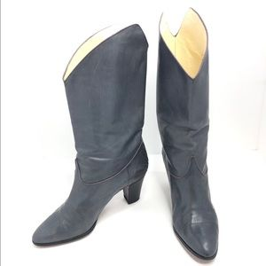 Gray Leather Casadei Cowgirl Boots Detailed Trim